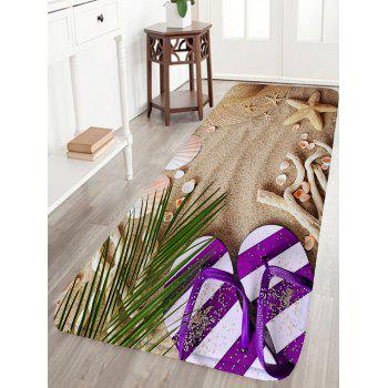 Beach Slippers Print Flannel Water Absorption Bathroom Rug