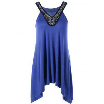 Beading Embellished Tunic Tank Top