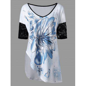 Lace Trim Floral Asymmetrical T-shirt