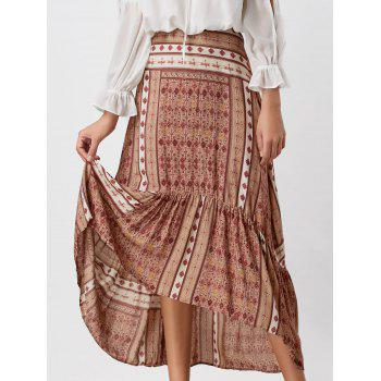 High Waisted Printed High Low Skirt