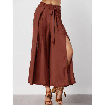 High Waisted Slit Wide Leg Pants