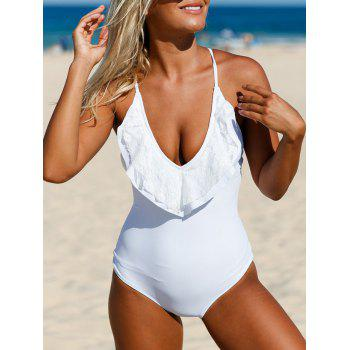 Plunging Lace-Up Cross Back Swimsuit