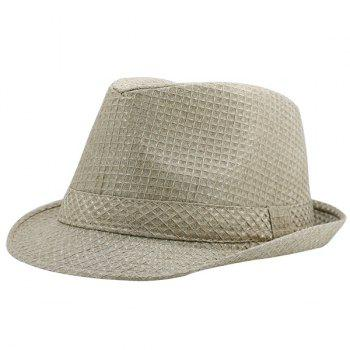 Tiny Plaid Ribbon Embellished Retro Fedora Hat