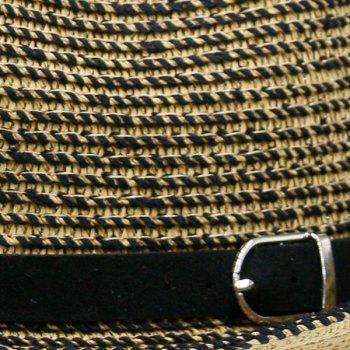 Retro Woven Ribbon Fedora Hat - COFFEE