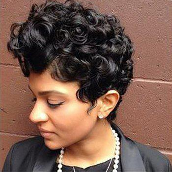 Perm Dyed Short Layered Shaggy Curly Synthetic Wig