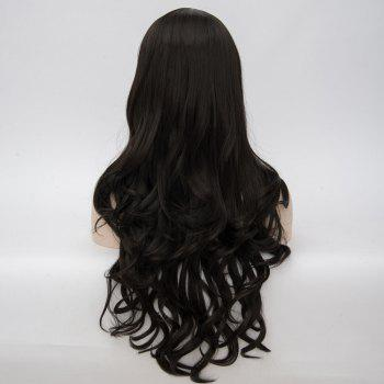 Dyed Perm Layered Long Wavy Center Parting Synthetic Wig - JET BLACK 26INCH