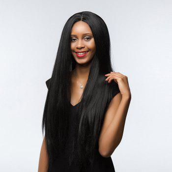 Dyed Perm Center Parting Shaggy Long Straight Synthetic Wig