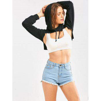 Long Sleeve Drawstring Hooded Cropped Top - L L