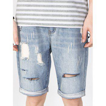 Applique Faded Scratch Design Ripped Jean Shorts
