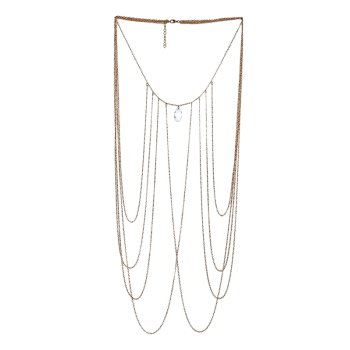 Faux Crystal Teardrop Fringed Body Chain - GOLDEN