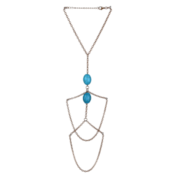 Faux Turquoise Oval Arm Chain -  GOLDEN