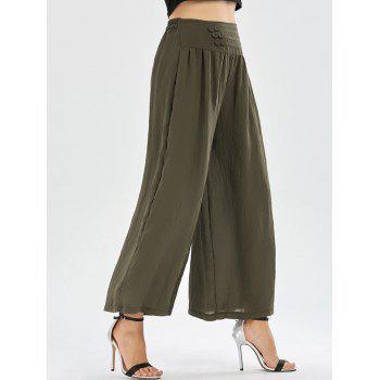 High Waisted Button Design Wide Leg Pants