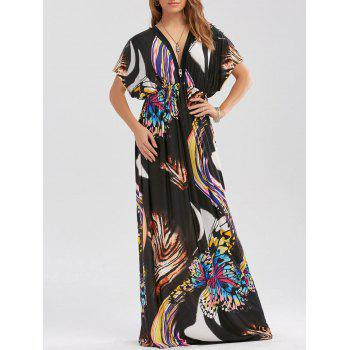 Empire Waist Butterfly Print Maxi Dress