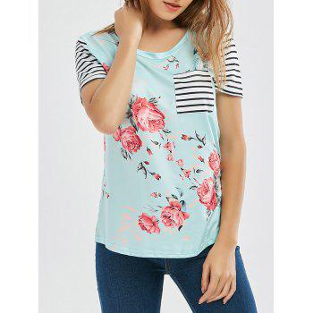 Floral Striped Raglan Sleeve Pocket T Shirt