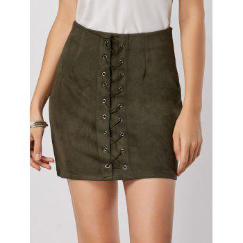 High Waisted Grommet Lace Up Skirt