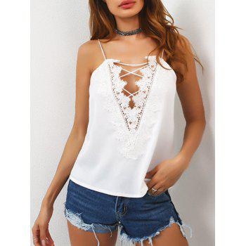 Plunge Lace Up Cami Tank Top
