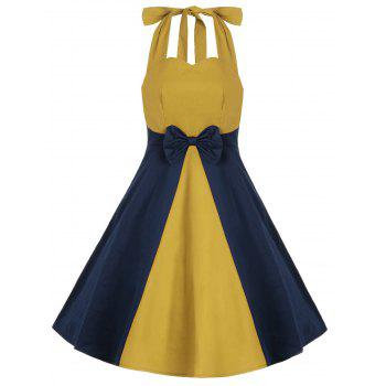 Vintage Two Tone Bowkont Halter Dress