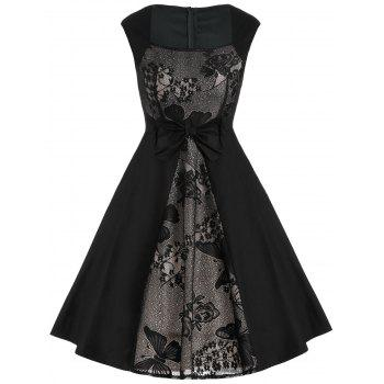 Vintage Lace Panel Bowknot A Line Dress