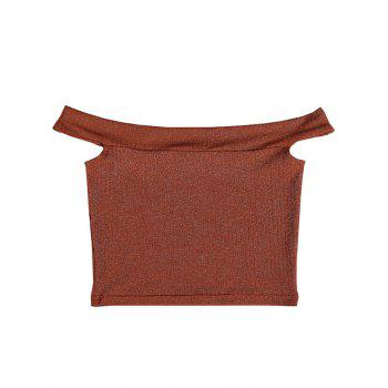 Off The Shoulder Backless Crop Top - BROWN BROWN