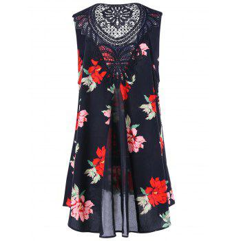 Plus Size Lace Trim Floral High Low Dress