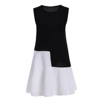 Plus Size Colorblock Sleeveless Drop Waist Dress