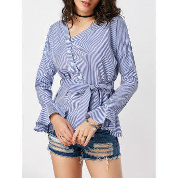 Skew Collar Stripe Button Up Shirt