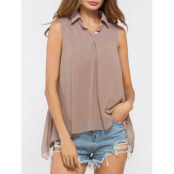 Shirt Collar High Low Chiffon Top