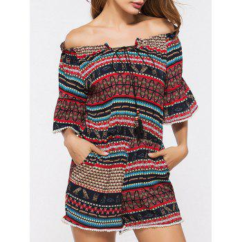 Printed Convertible Collar Romper