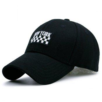 New York Checked Embroideried Adjustable Baseball Hat