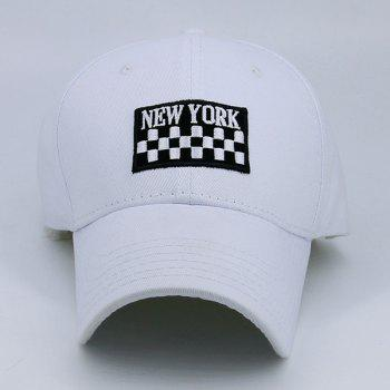 New York Checked Embroideried Adjustable Baseball Hat - WHITE