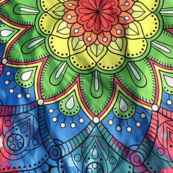 Flower Design Ethnic Floral Printed Beach Throw - BLUE/YELLOW/RED
