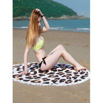Fringe Round Beach Towel with Leopard Print