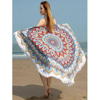 Fringed Trim Tribe Floral Print Beach Towel