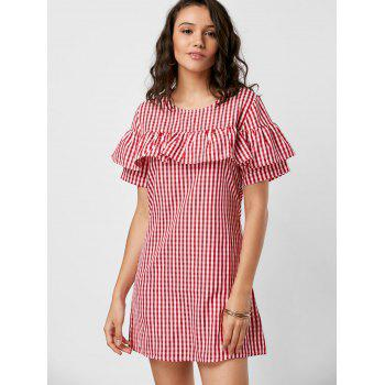 Plaid Short Sleeve Ruffle Dress - RED RED