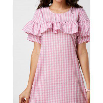 Plaid Short Sleeve Ruffle Dress - PINK PINK