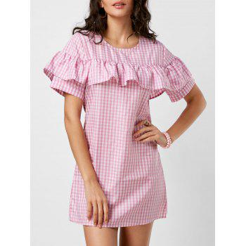 Plaid Ruffle A Line Dress