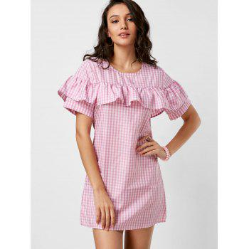 Plaid Short Sleeve Ruffle Dress - PINK XL