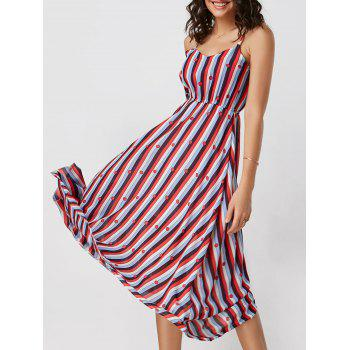 Spaghetti Strap Striped High Waisted Dress