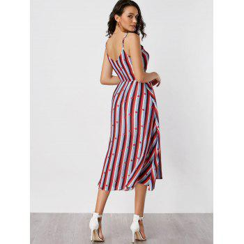 Spaghetti Strap Striped High Waisted Dress - COLORMIX COLORMIX