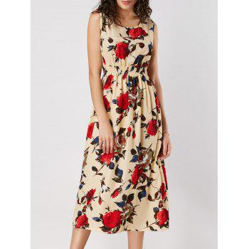 Rose Print High Waist Sleeveless Dress