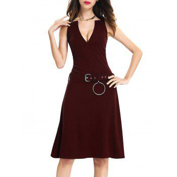 Sleeveless O Ring Belted Dress