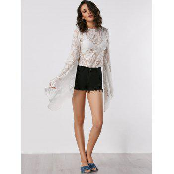 Flare Long Sleeve Lace Sheer Blouse - S S