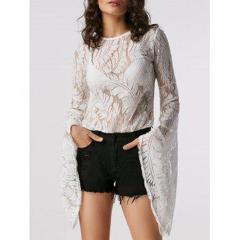 Flare Long Sleeve Lace Sheer Blouse - WHITE L