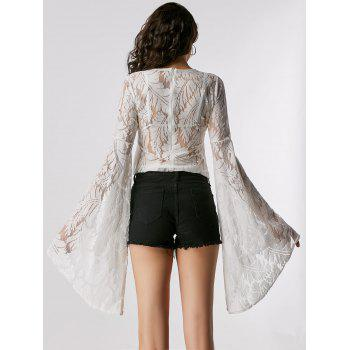 Flare Long Sleeve Lace Sheer Blouse - L L