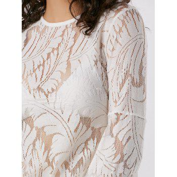 Flare Long Sleeve Lace Sheer Blouse - WHITE WHITE
