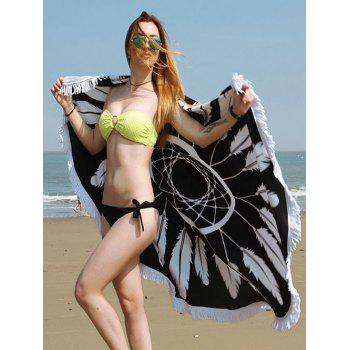 Dreamcatcher Print Round Fringe Beach Towel