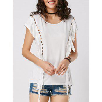 Fringe Mesh Cut Out Tunic Tee