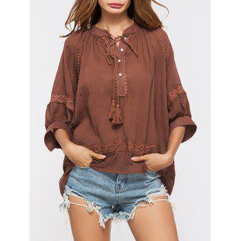 Oversized Lace Insert Tassels Sheer Top