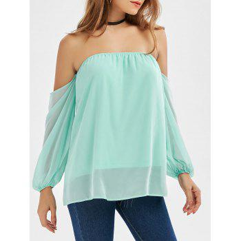 Off The Shoulder Chiffon Long Sleeve Top