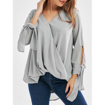 V Neck Chiffon Long Sleeve Wrap Top